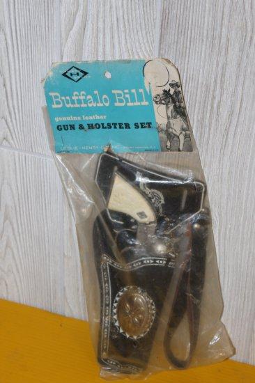 NOS Buffalo Bill Cap Gun w/ Genuine Leather Hosler, in Orig. Package by Leslie