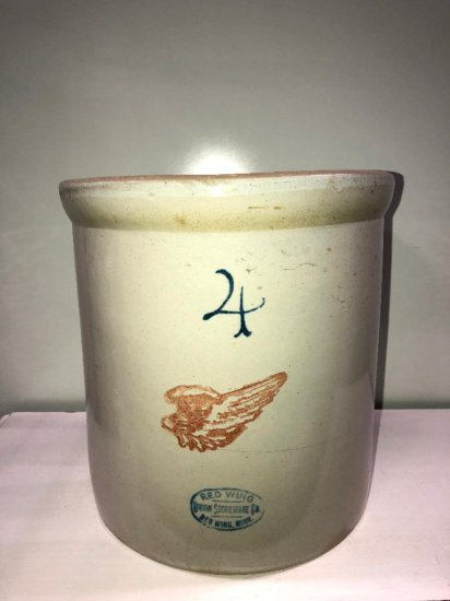 4 Gallon Red Wing Stoneware Crock w/ Large Wing