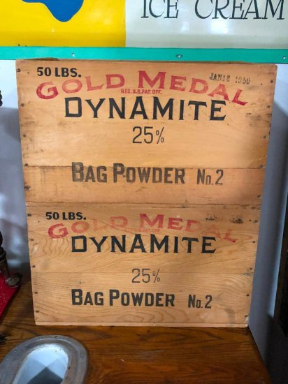 Lot of 2 Wooden Dynamite Crates