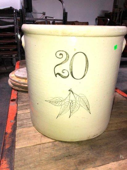 20 Gallon 4 Leaf Stoneware Crock