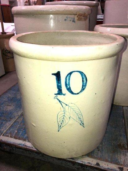 10 Gallon Stoneware Crock w/ Double Cobalt Leaf, Large 10