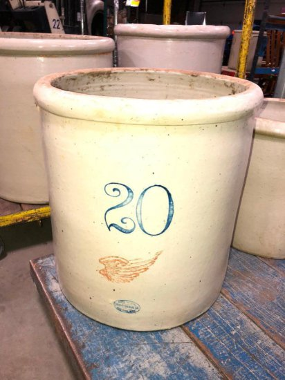 20 Gallon Red Wing Stoneware Crock, Large Wing, c. 1915 Some Damage to Handle