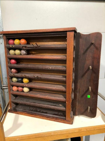 Early Billiards Ball Rack w/ 14 Old Billiard Pool Balls