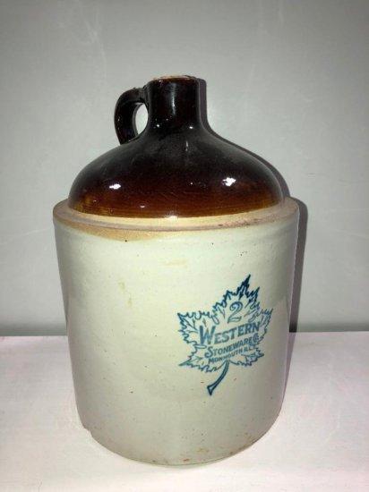 2 Gallon Western Stoneware Crock Jug, Blue Leaf