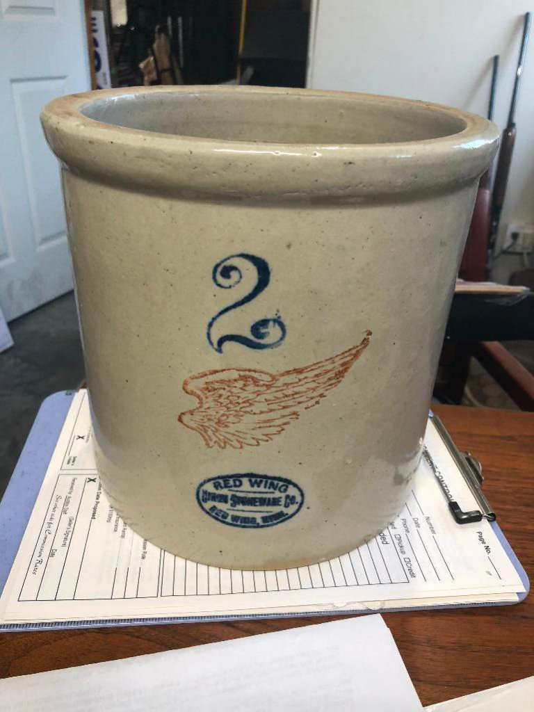 2 Gallon Red Wing Stoneware Crock w/ Large Wing