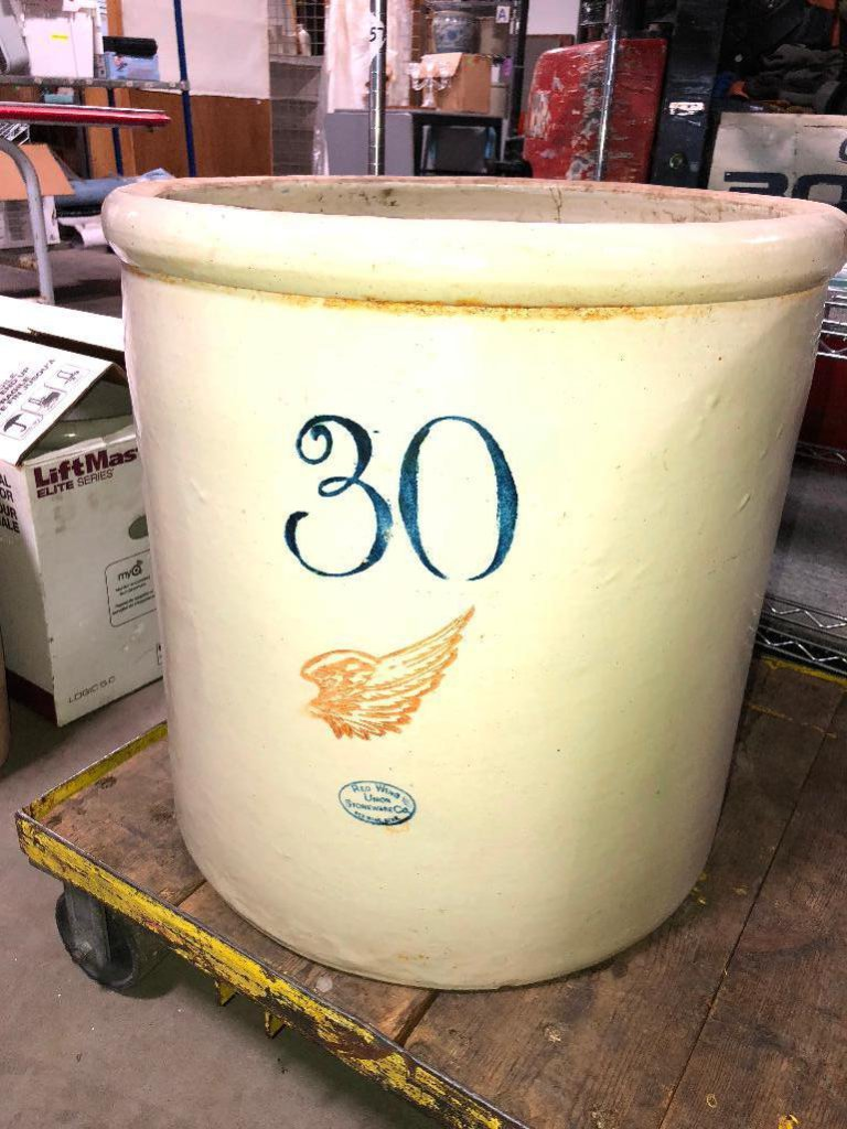 30 Gallon Red Wing Stoneware Crock w/ Large Wing, Some Hairline Cracks