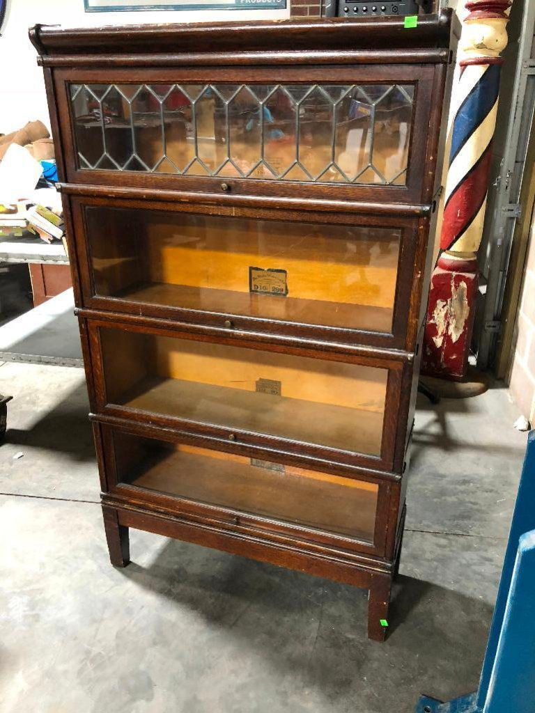 Four Section Globe-Wernicke Co. Glass Front Barrister Lawyer Stacking Bookcase Orig. Crown/Base, 59""