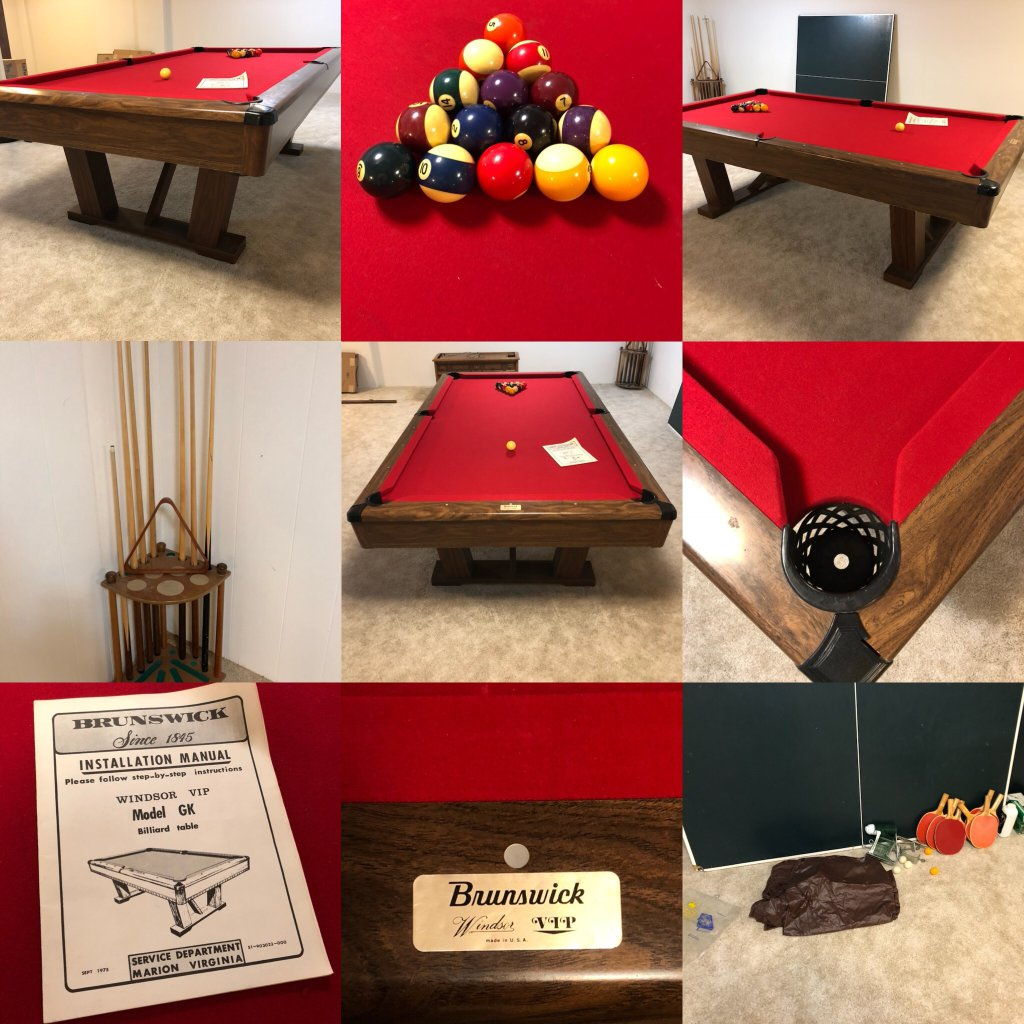 Brunswick Windsor VIP Model GK Auctions Online Proxibid - Brunswick windsor pool table