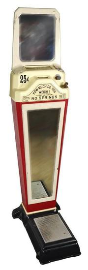 "Coin-operated scale, American Scale Mfg Co. ""Fortune Telling 1 Cent"", Washington DC, porcelain c1950"