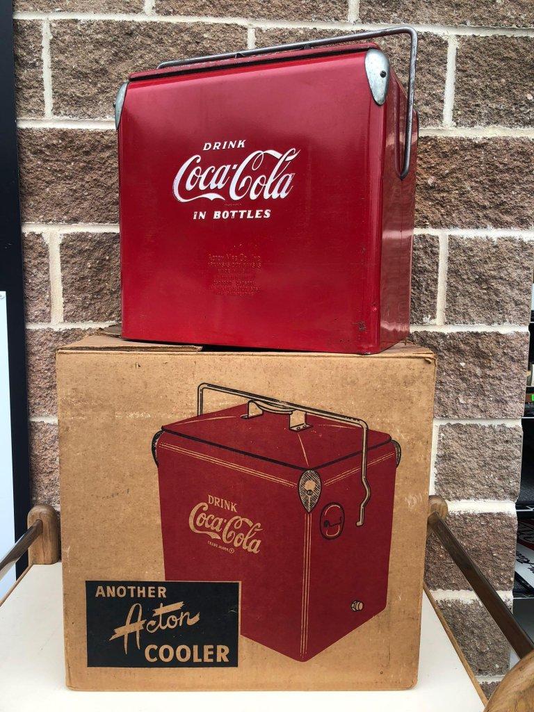 Vintage Metal Coca-Cola Cooler by Acton Mfg w/ Original Box, Tray & Papers
