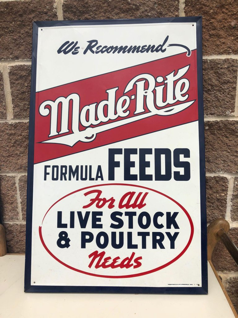 Made-Rite Feeds Sign, Self Framed Tin, 34? x 22? c. 1949