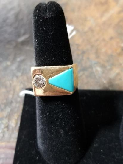 14k Gold Men's Ring w/ Diamond and Turquoise - 13.2 Grams