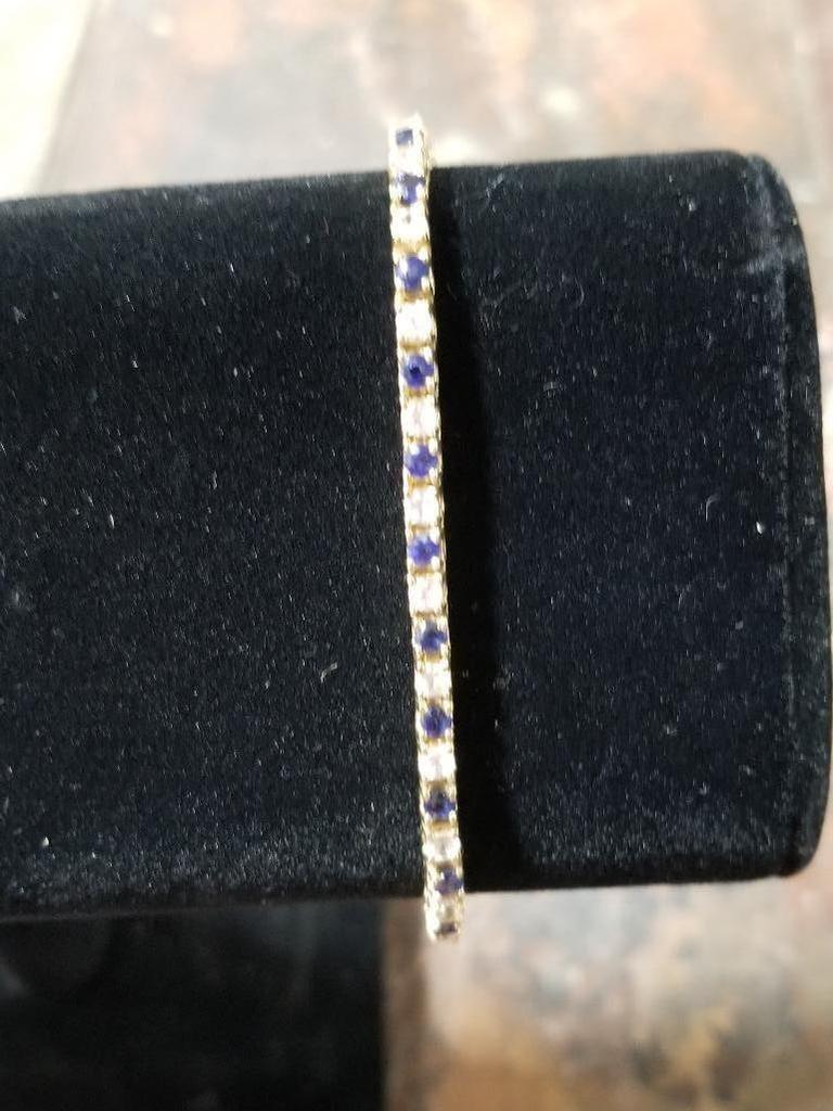 14k Gold Tennis Bracelet w/ Gemstones - 12.2 Grams