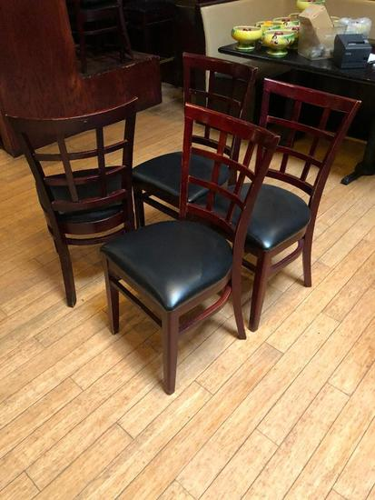 Lot of 4 Restaurant Chairs by K Furniture, Vinyl Seat Cushions, Wooden Framed