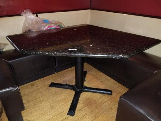 Five Sided Triangular Shaped Granite Top Restaurant Table for Corner Booth
