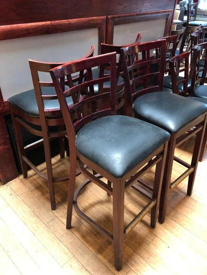 """Lot of 4 Pub Chairs by K Furniture, Vinyl Seat Cushions, Wooden Framed, 44"""" Tall, 31"""" Seat Height"""