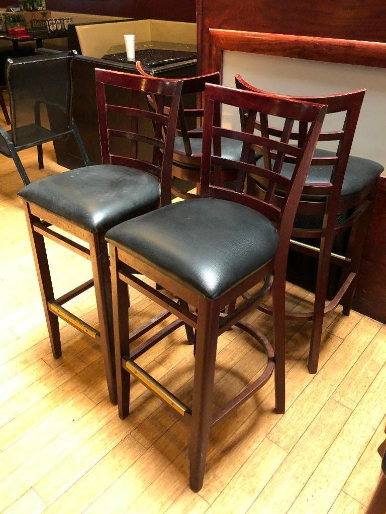 "Lot of 4 Pub Chairs by K Furniture, Vinyl Seat Cushions, Wooden Framed, 44"" Tall, 31"" Seat Height"