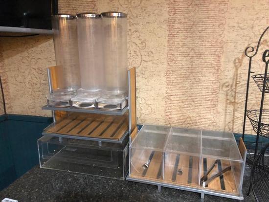 Breakfast Bar Display Items, Cereal Dispenser, Bagel Bin, Tray