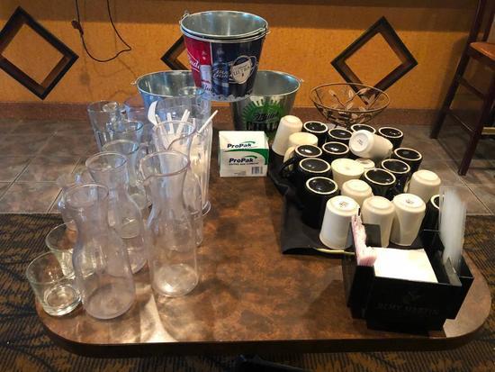 Misc. Carafes, Beer Buckets, Coffee Mugs, Napkin Holders, Fruit Bowl