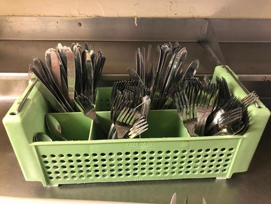 Silverware Caddy w/ Stainless Steel NSF Forks and Butter Knives, Few Spoons