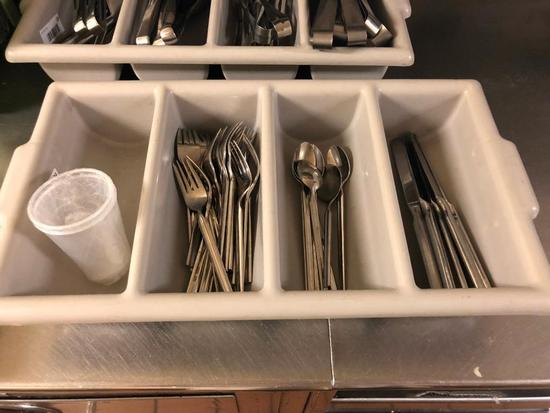 Tray of NSF Stainless Steel Forks, Butter Knives, Spoons