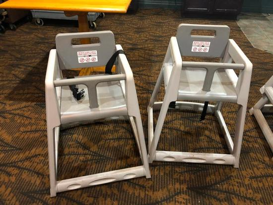 Lot of Two CSL Grey Stackable Plastic High Chair