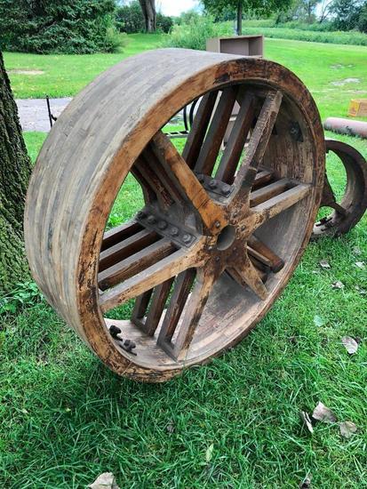 Antique Wooden Pulley, 42in. Diameter, 12in Wide