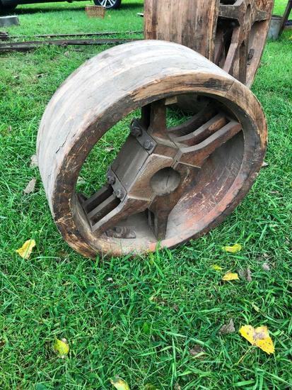 Antique Wooden Pulley, 24in. Diameter, 9in Wide