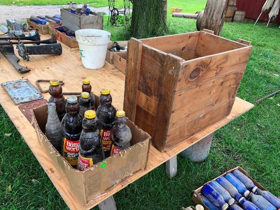 Crate of Some Cobalt Blue Jars, Aunt Jamima Bottles