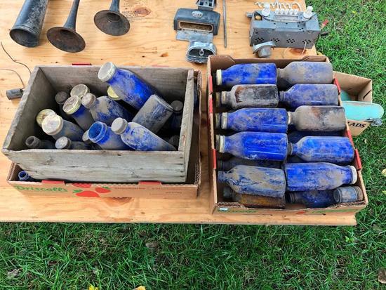 Lot of 2 Boxes of Cobalt Blue Bottles