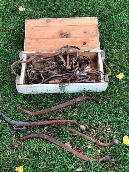 Horse Tack, Wood Box, 2 Barrels of Hames