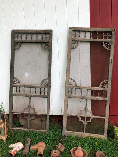 Lot of 2 Antique Screen Doors w/ Fretwork