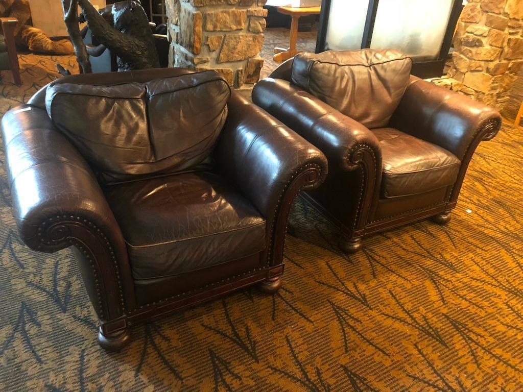 Lot Of 2 Bernhardt Overstuffed Leather Chairs
