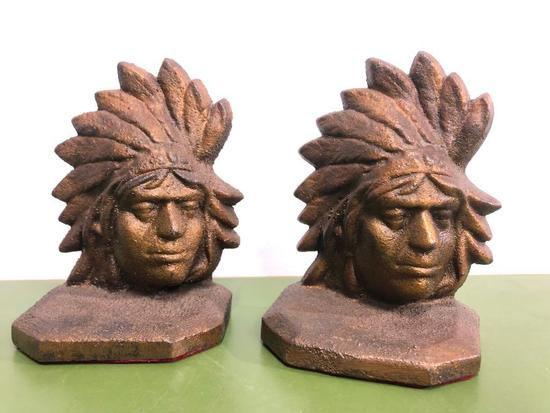 Cast Iron Native American Indian Chief Bookends, 7in Tall, Heavy, Old