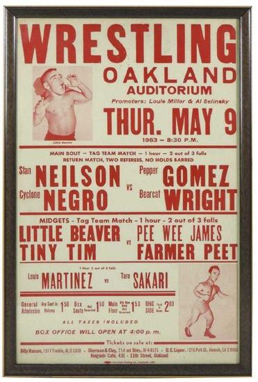c. 1963 Midget Wrestling Framed Poster, Oakland Auditorium CA, Tiny Tim, Little Beaver