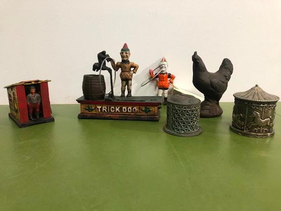 "Cast Iron Mechanical Bank ""Trick Dog"" Bank w/ Extra Clown, Working, + 4 Other Banks"