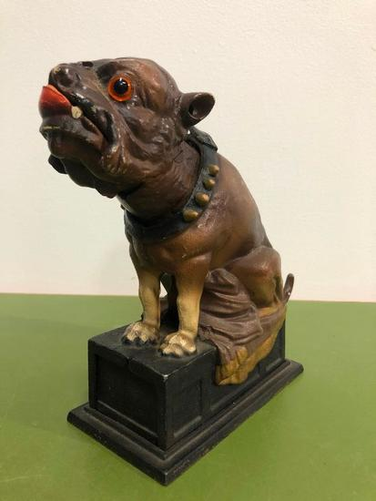 Bull Dog Bank, Cast Iron Mechanical Bank, Book of Knowledge