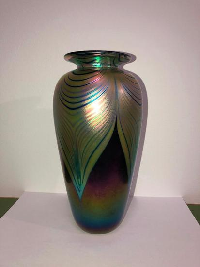 Abelman Pulled Feather Vase, Signed, Beautiful Vase