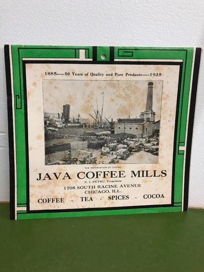 1935 Java Coffee Mills Calendar Chicago, Coffee, Tea, Spices, Cocoa