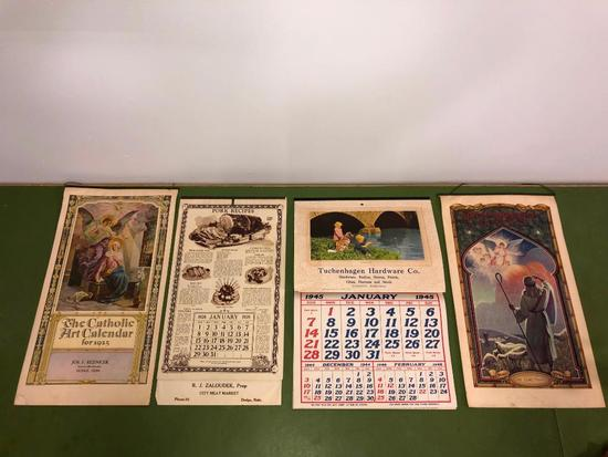 1920's 1940's Lot of 4 Small Town Nebraska Calendars, Dodge, Scribner, North Bend