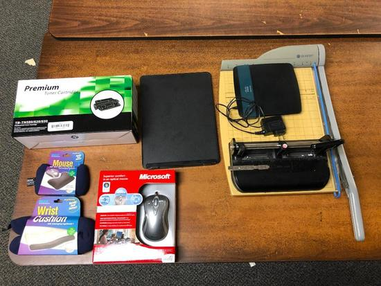 Misc. Office Supplies, Mouse, Toner Cartridge, 3 Hole Punch, Paper Cutter, Cushions