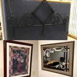 Framed Picture, Metal Coat Rack, Mirror