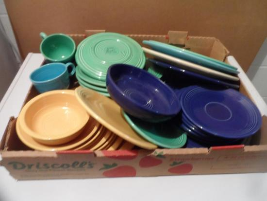 Box of Fiesta Plates, Cups, Saucers, Various Colors