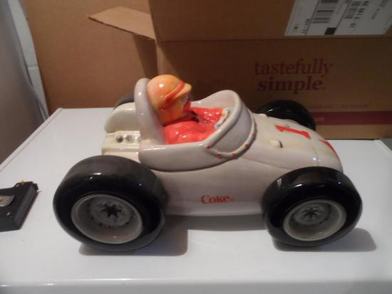 Coca-Cola Race Car Cookie Jar 13.5in