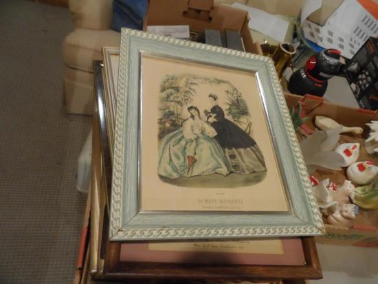 Box Full of 1800's Fashion Pictures Framed