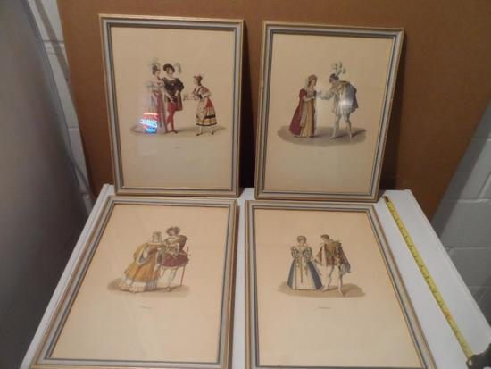 4 Medieval Framed Fashion Pictures