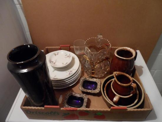 Various Glassware & China, Haviland, Hull, Early Gold Trim Pitcher