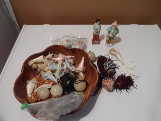 Bowl Full of Porcelain Made in Occupied Japan, Tea Cups, Scroll Weights and Porcelain Head Tree