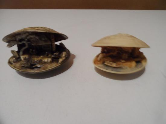 Oriental Carved Clam Dioramas