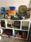 Cubby Hole Cabinet w/ Contents, Shaving Cream Dispenser, New Tarp, Blender, Books, Glasses,